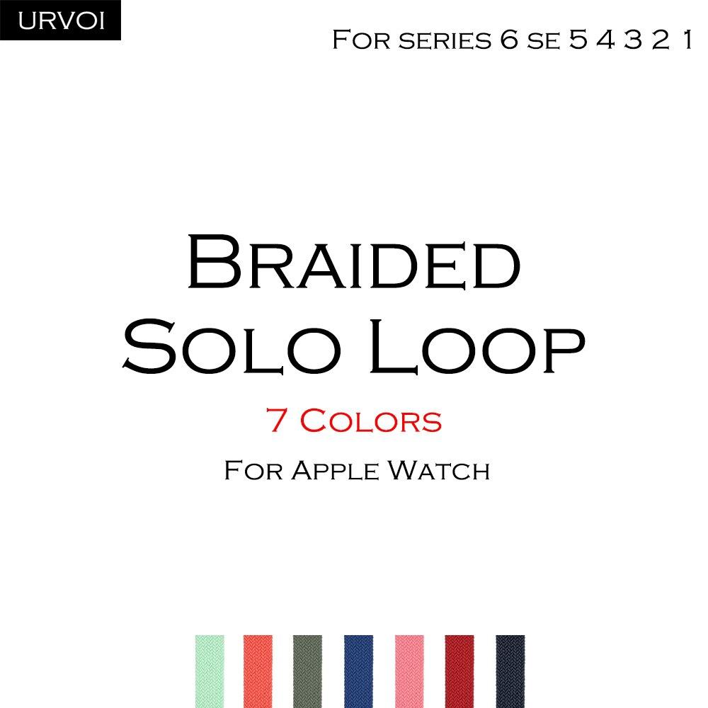 Плетеный ремешок URVOI для Apple Watch band series 6 SE 5 4 3 2 1, эластичный браслет из полиэстерной пряжи для iWatch, нить gen.5