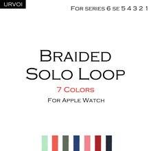 Urvoi trançado solo loop para apple assistir banda série 6 se 5 4 3 2 1 stretchable cinta para fios de poliéster iwatch fios gen.5