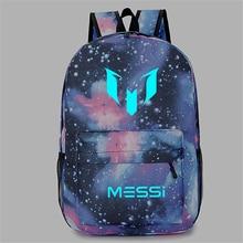 Barcelona MESSI Night Luminous Backpack Printed Men Cartoon School Bags Rucksack Book Shoulder Crossbody Knapsack