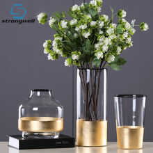 Strongwell Nordic Glass Vase Gold Foil Modern Golden European Clear Cylinder Flower Decoration Home Tabletop