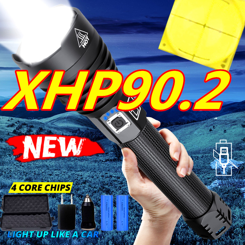 Brightest 80000LM XHP90.2 LED Flashlight XHP70.2 Powerful Waterproof LED Torch Use 18650 Battery USB Rechargeable For Camping