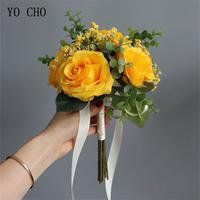 YO CHO Newest Handmade Silk Rose Church Wedding Bouquet Artificial Lavender DIY Bedroom Hallway Decoration Flower Bouquet