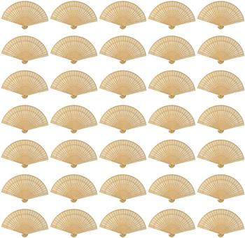 metable 60pcs Sandalwood Fan Hand Held Folding Fans Wooden Openwork for Wedding Party Home Decorations Birthday baby shower Gift