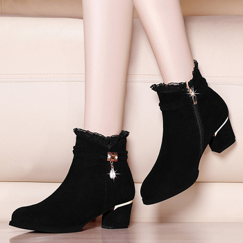 Genuine Suede Leather Ankle Boots For Women Med High Heel Boots Sexy Pointed Toe 2019 Winter Fashion Shoes YG-A0006