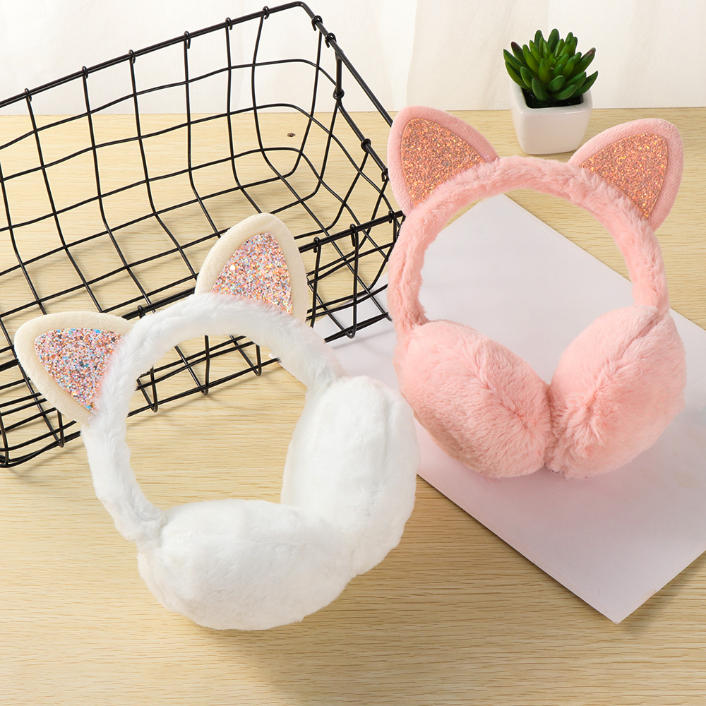 Winter Autumn Warm Faux Fur Earmuffs Cute Cat Ear Earflap Plush Earmuff For Girls Ladies Women Hairbands Rhinestone Ear Muffs