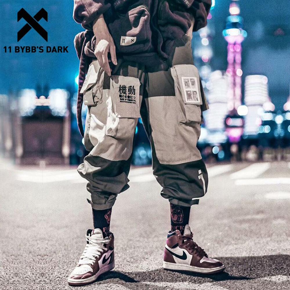 Cargo-Pants Track-Trousers Pockets Male Joggers Streetwear Hip-Hop Dark-Patchwork 11-Bybb's title=