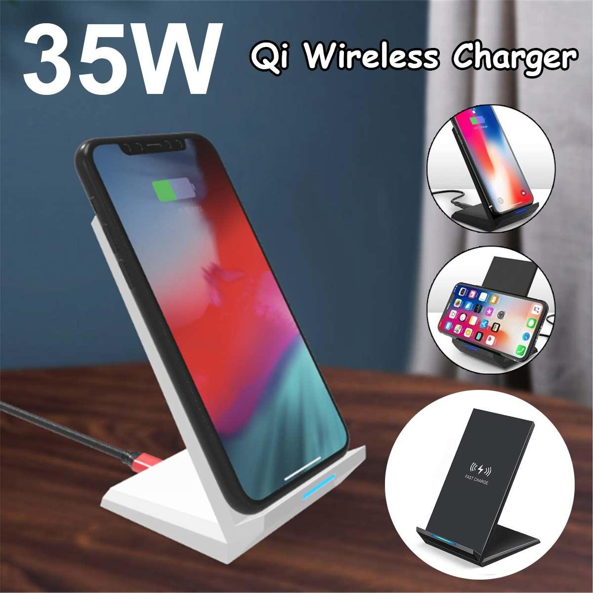 35W Qi kablosuz şarj standı iPhone X XS MAX XR 11 Pro 8 samsung S20 S10 S9 hızlı şarj Dock İstasyonu telefon şarj cihazı
