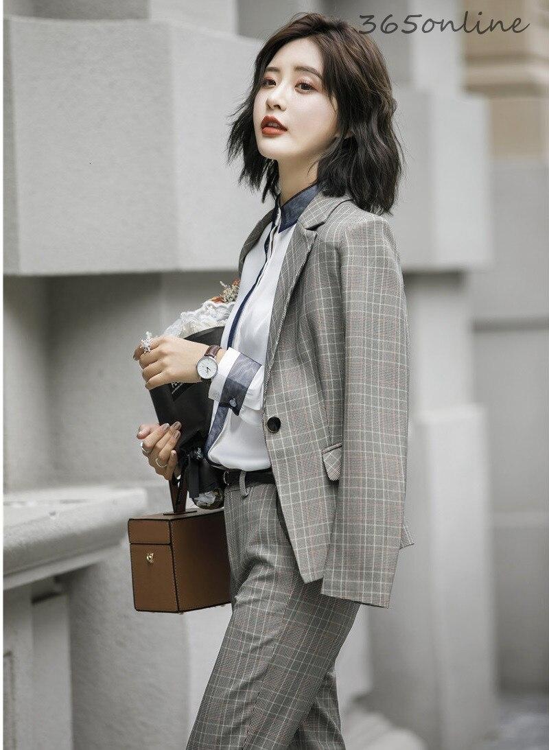 High Quality Fabric Fashion Plaid Autumn Winter Ladies Office Work Wear Blazers Sets OL Styles Professional Women Pantsuits