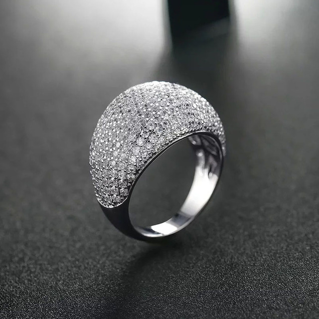 Women's Big Full Crystal Cocktail Ring