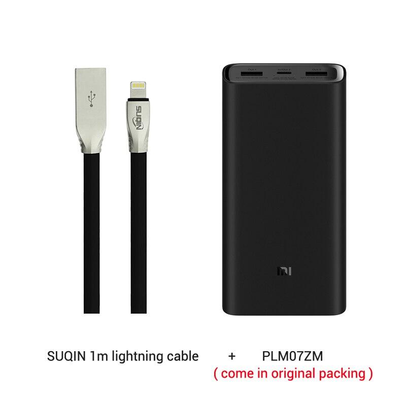 Из России- 20000 мАч Xiaomi Power Bank 3 Mi Power Bank Pro PLM07ZM с тройным выходом USB USB-C 45 Вт Двусторонняя Быстрая зарядка - Цвет: and lightning cable
