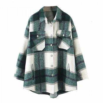 Hiver chemise à carreaux Jacekt ample surdimensionné manteau en laine femmes Vintage bouton veste coupe-vent 1