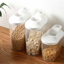 Cereal Dispenser With Lid Storage Box Plastic Rice Container Food Sealed Jar Cans For Kitchen Grain Dried Fruit Snacks 1/1.5l