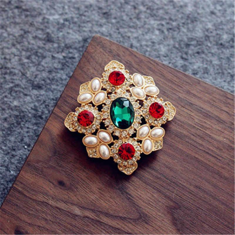 FFLACELL خمر الباروك الذهب اللون مطلي كريستال الراين تقليد اللؤلؤ دبوس زهرة الصولجان بروش للنساء مجوهرات هدايا