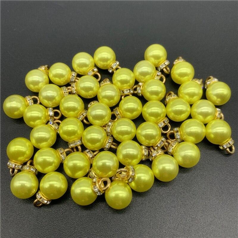 Lot de 15 perles acryliques jaunes de 10mm, pour la fabrication de bijoux, breloques, boucles d'oreilles, accessoires de collier