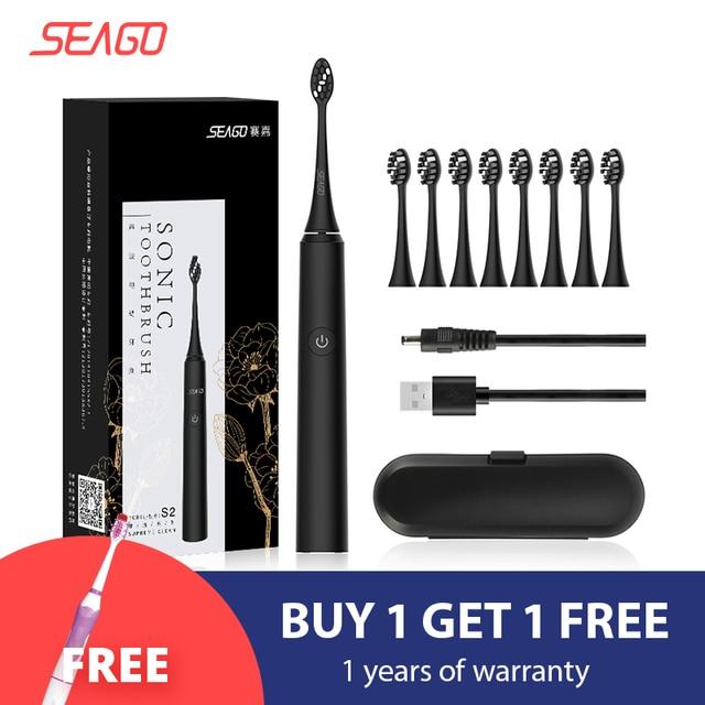 SEAGO Sonic חשמלי מברשת שיניים S2 USB נטענת משודרג Ultra sonic מברשת שיני נסיעות ראש הלבנת הטוב ביותר בריא מתנה