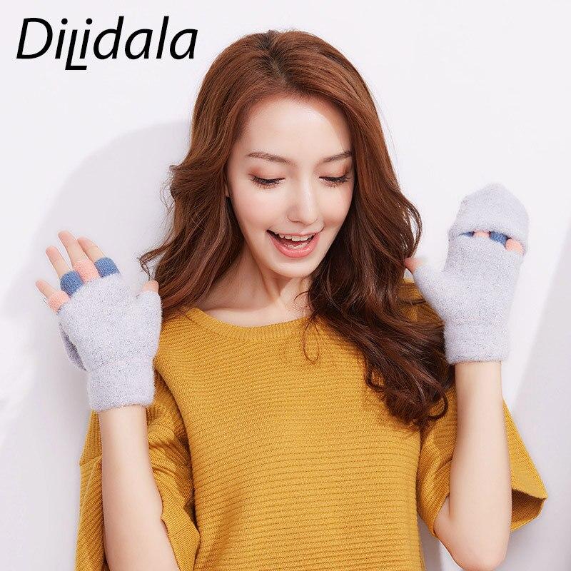 Dilidala Winter Girls Knitted Plush Gloves Cute Students Half Finger Flip Outdoor Wool Plus Velvet Warm Winter Gloves