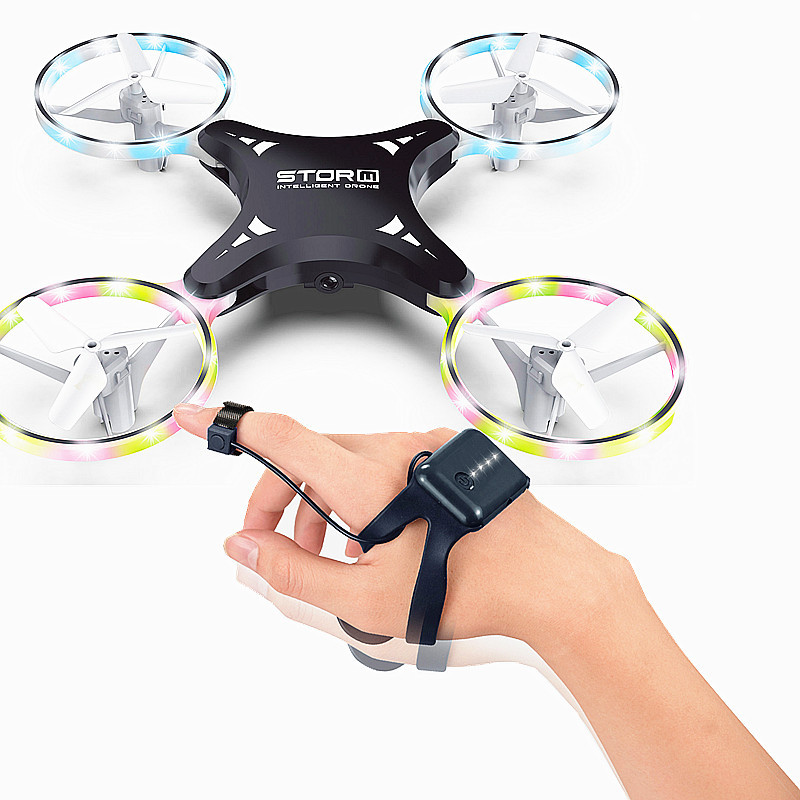 New Style Remote Control Folding Gesture Induction Vehicle LED Colored Lamp Four-axis Watch Unmanned Aerial Vehicle Set High Int
