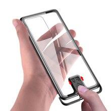 Metal tampon durumda Samsung S20 Ultra plusEtui HD temperli cam arka kapak Samsung S20Plus s11e s11 artı ince çerçevesiz