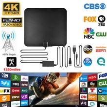 Antenne numérique intérieure amplifiée HDTV 4K, portée 1280 Miles pour la vie, chaînes locales, boîte de diffusion