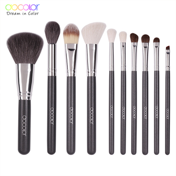 Docolor 10pcs Make Up Brushes Professional Natural goat hair Makeup Brushes set Foundation Powder Concealer Contour Eyes brush beili complete professional 25 pieces foundation powder concealer eyes hadow makeup brush set