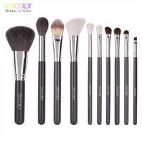 Docolor 10pcs Make Up Brushes Professional Natural goat hair Makeup Brushes set Foundation Powder Concealer Contour Eyes brush