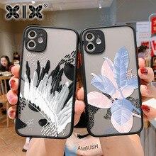 XIX iPhone 11 케이스 아트 꽃 iPhone 12 Pro Max SE 2020 7 8 Plus X XS Max XR 소프트 범퍼 투명 매트 PC 뒷면 커버