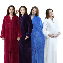 Women Plus Size Winter Thermal Long Bathrobe Thick Flannel Warm Kimono Bath Robe Lovers Dressing Gown Pregnant Bridesmaid Robes cheap RUILINGSHA Polyester Coral Fleece Solid Full Jacquard Flannel Coral Fleece Ankle-Length Women Men Zipper Long Thermal Robe