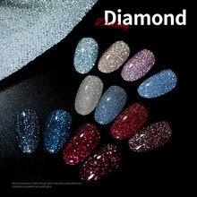 12 cores super flash diamante unhas gel arte do prego cristal lantejoulas unha polonês cola brilhante fino brilho unha fototerapia gel tslm1