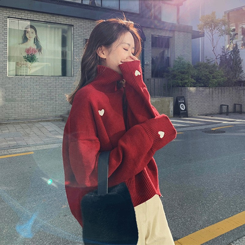 Winter Turtleneck Women Sweater Chic Heart Embroidery Knitted Sweaters Korean Sweet Female Pullovers Casual Loose Thick Sweater