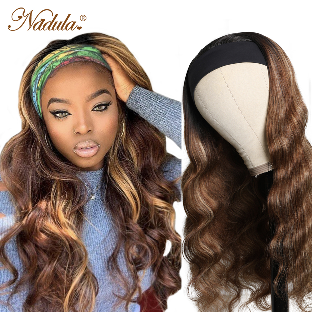 Nadula Highlight Straight Hair with Dark Roots Headband Wig  Honey Blonde Color Straight Hair Headband Wigs for Women 1