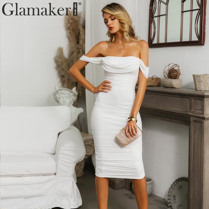 Glamaker Off Shoulder White Mesh Pleated Bodycon Dress Women Summer Strapless Sexy Long Dress Female Elegant Club Dress Vestidos