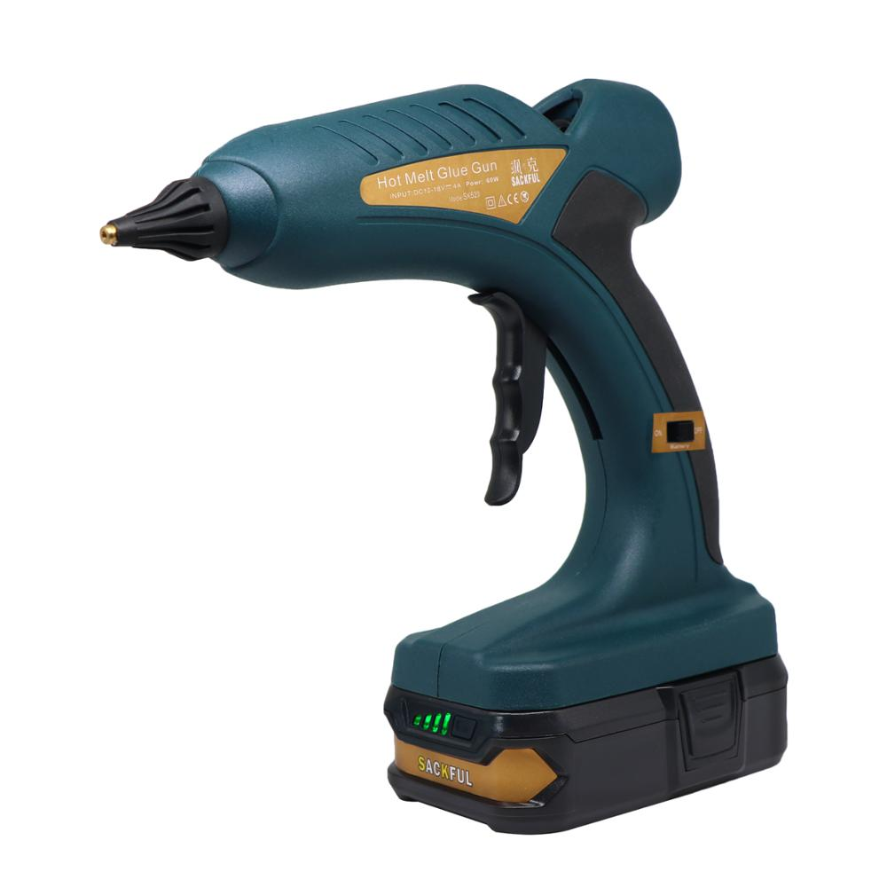 Wireless 60W Hot Melt Glue Gun Lithium Battery Charge 18V 1.5Ah Replaceable Nozzle DIY Outdoor 11mm Glue Stick 5 Sticks