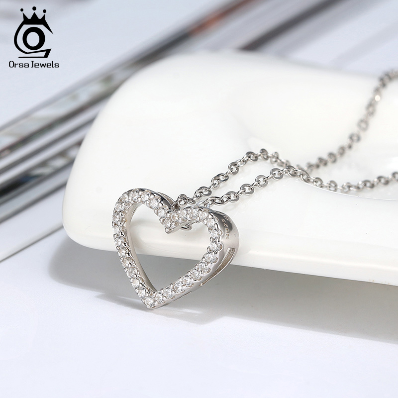 ORSA JEWELS Real 925 Silver Heart Shape Necklace Pendant Short Chain Female Charm Pendant Necklace Gifts Girlfriends Gift OSN216