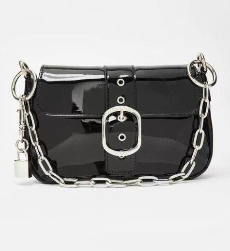 Female Bag Chain Popular Simple Style PU  Patent Leather Fashion Bag Vintage Messenger Shoulder Women's Handbag Lock Black R-6hy