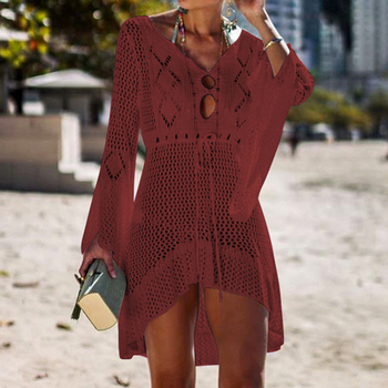Loozykit 2019 Women Crochet Knitted Cover Up Dress Beach Tunic Long Pareos Bikini Cover Bathing Suits Beachwears Robe Plage 11