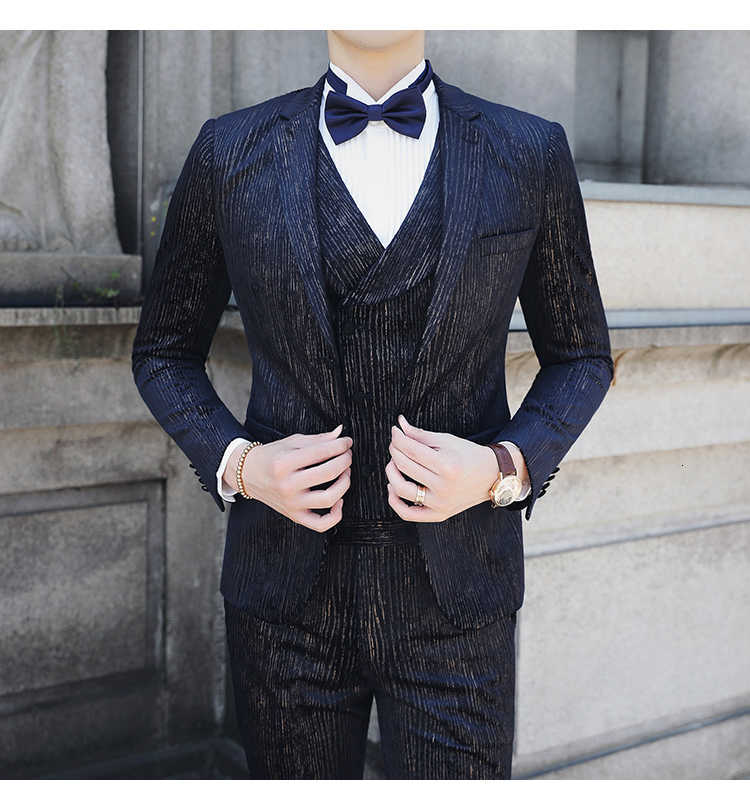 2020 Autumn Men's Stripe Suits Men Business Casual Clothing (Blazer+vest+pant ) Trajes De Hombre Costume Mariage Homme Tuxedo