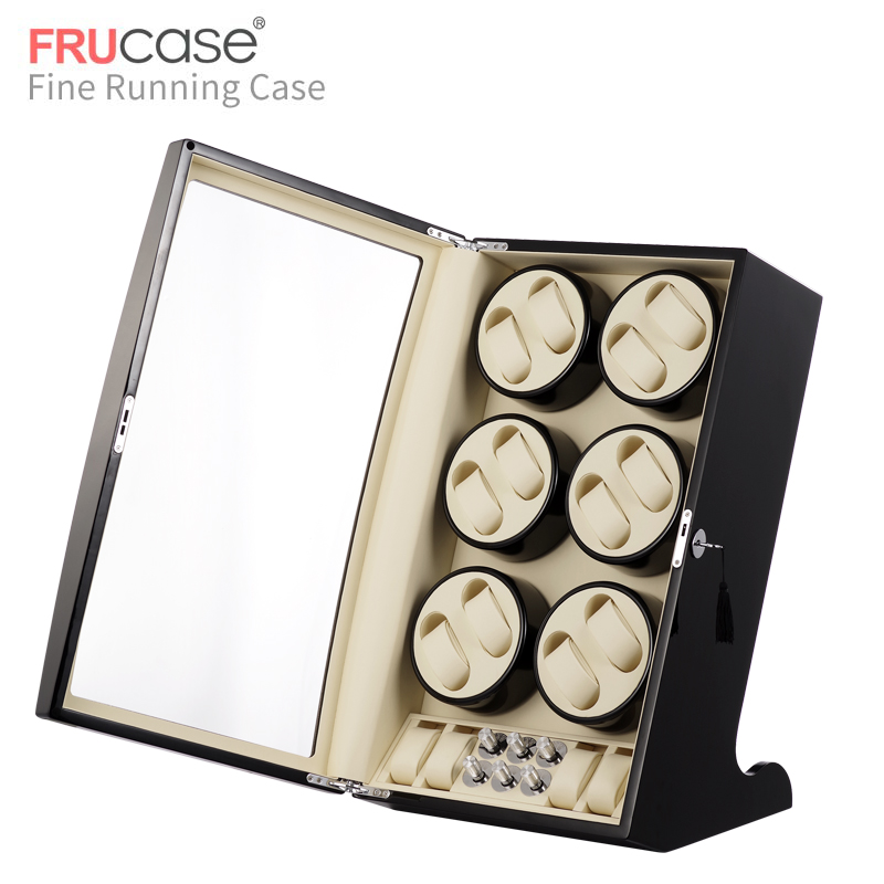 Automatyczna nakręcarka zegarków FRUCASE Black high finish zasilanie prądem zmiennym obsługa ultra cisza 12 + 4Pudełka do zegarków   -