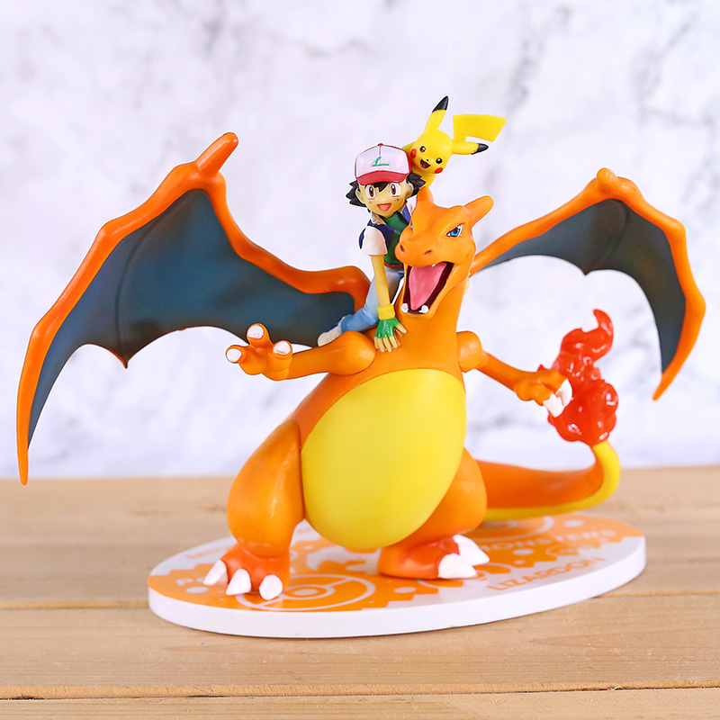 Anime Cartoon Monsters Ash Ketchum & Charizard PVC Statue Figure Collectible Model Toy