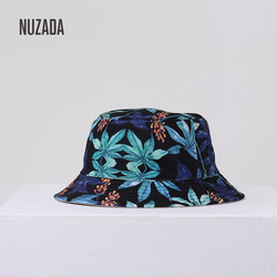 Korean version of the Japanese double-sided wearing lady 3D printed fisherman hat flat top 100 pots hat custom hat