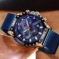 Relogio Masculino LIGE 2019 новые синие повседневные сетчатые пояса модные кварцевые золотые часы мужские часы лучший бренд Роскошные водонепроницаем...