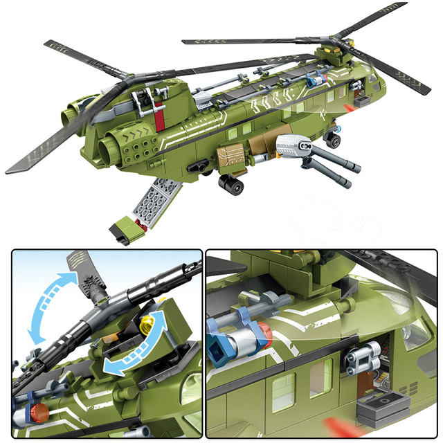SEMBO SWAT Team WW2 Helicopter Model Building Blocks Military Tank Truck City Police Figures Bricks Toys For Children