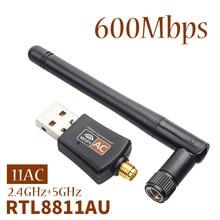 600 mb/s Adapter Wifi dwuzakresowy 2.4G/5.8G Adapter sieci bezprzewodowej 802.11ac Adapter USB Wifi Adapter Wifi do komputerów stacjonarnych/laptopa/PC