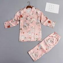 Весенняя новая пижама из искусственного шелка с принтом женская
