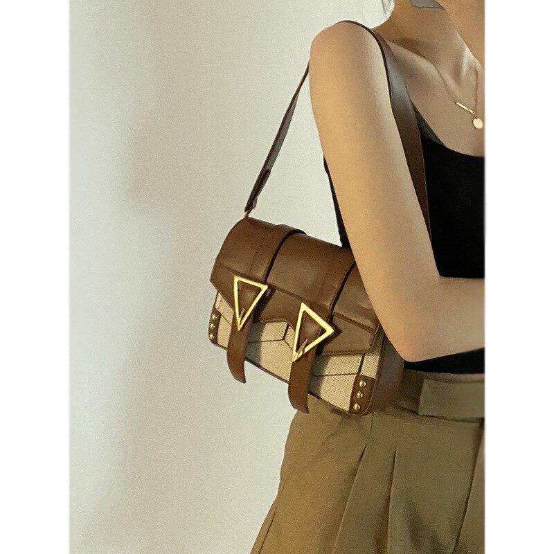 GOPLUS 2021 Women's Shoulder Bag Vintage Retro Pu Leather Handbags Vintage New Designer Satchel Bags Fashion For Lady Patchwork
