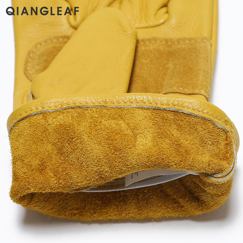 Image 4 - QIANGLEAF Brand New Men's Work Gloves Cowhide GlovesLeather Security Protection Wear Men Safety Driver Working Welding Glove H93-in Safety Gloves from Security & Protection