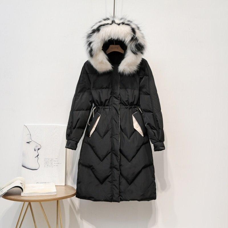 Winter Coat Women Fox Fur Collar Down Coat 90% White Duck Down Jacket Women Puffer Jacket Warm Parka Casaco 1931 YY1419