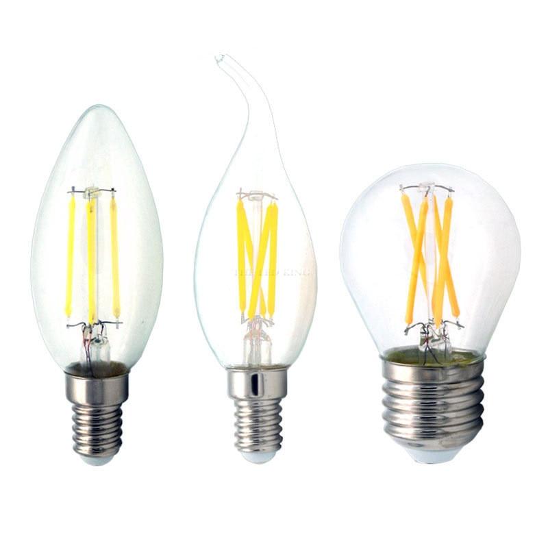 2w 4w 6w 8w 12w E27 E14 прозрачный СВЕТОДИОДНЫЙ светильник 220v A60 G45 ST64 C35 C35L матовый светодиодный Лампа накаливания Эдисона шар светильник 230v