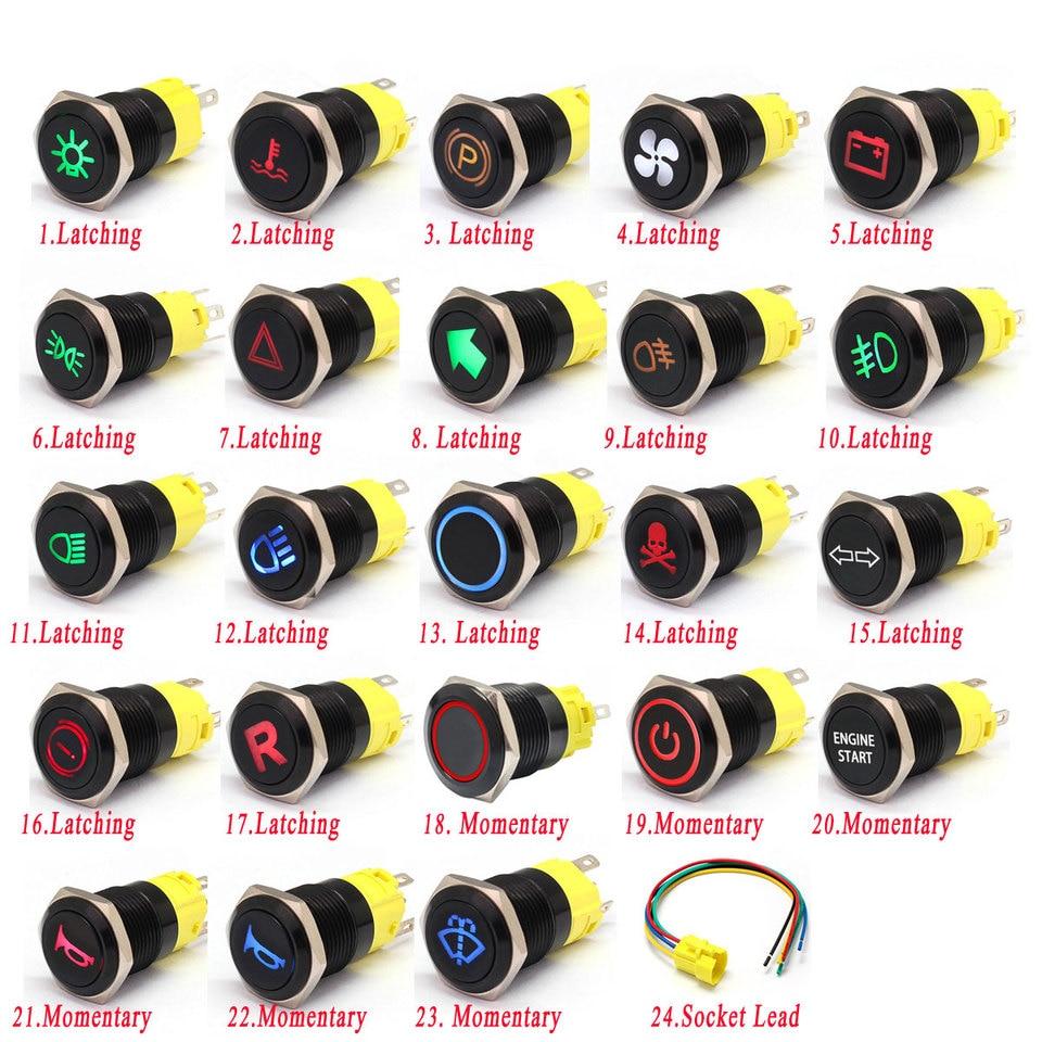 luz LED 5 pines de restablecimiento autom/ático 1NO 1NC Interruptor de bot/ón a prueba de agua de metal para modificaci/ón de autom/óvil Luz amarilla 12V Interruptor de bot/ón de 16 mm y 12 v