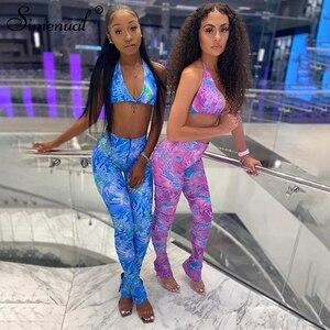 Simenual Sexy Hot Club Bodycon Frauen Zwei Stück Sets Bralette Und Leggings Zipper Party Mode Gedruckt Ärmelloses Co-ord outfits