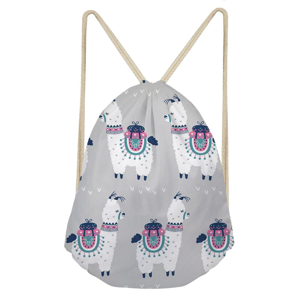 Vogue Linen String Drawstring Bag For Women Girls Cute Alpaca Drawstring Backpack Rucksack Travel Storage Pouch Dropper Dropship